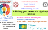 """Publishing your research in high impact journals"" Public lecture organized by SLAAS"