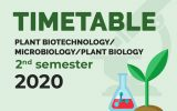 TIME TABLE 2020 -PLANT BIOTECHNOLOGY/MICROBIOLOGY/PLANT BIOLOGY – SECOND SEMESTER