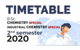 TIMETABLE – B.Sc. CHEMISTRY SPECIAL DEGREE / INDUSTRIAL CHEMISTRY SPECIAL DEGREE – SECOND SEMESTER –2020