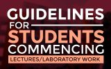 Guidelines for students commencing lectures/laboratory work – August 2020