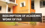 Resumption of academic work of FAS