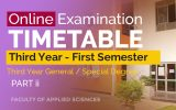 FIRST SEMESTER ONLINE EXAMINATIONS TIME TABLE – PART II – YEAR 2020 (General / Special Degree – 3rd Year)