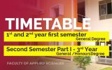 Timetable for First Semester – First and Second Year (General Degree) and Second Semester Part I – Third Year (General / Honours Degree) Exams