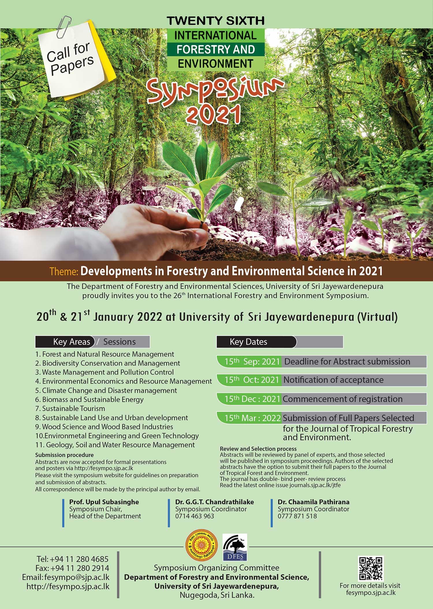 26th International Forestry Symposium 2021
